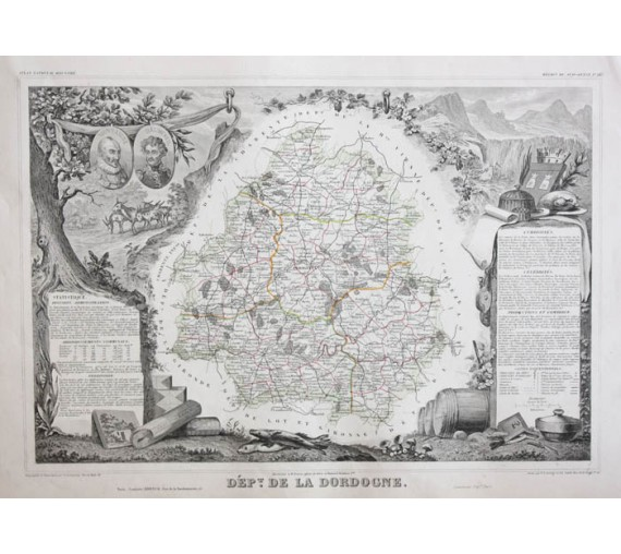 dordogne levasseur french department antique map