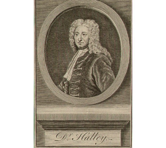 Dr Halley portrait engraving comet astronomer