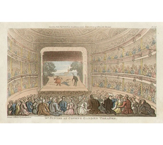 covent garden theatre dr syntax thomas rowlandson aquatint