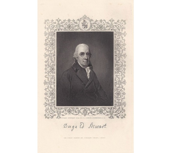 Dugald Stewart philosopher mathematician portrait engraving print