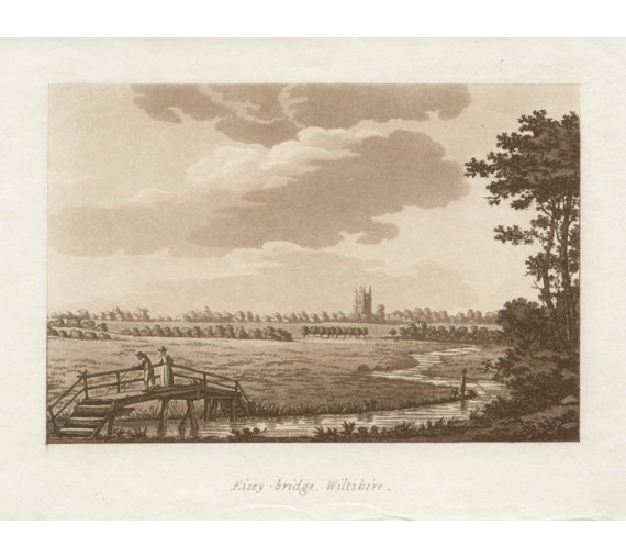 Eisey Bridge Wiltshire Thames Samuel Ireland aquatint