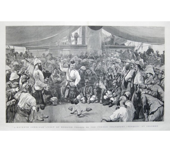 English Troops Tonquin Colombo Ceylon engraving