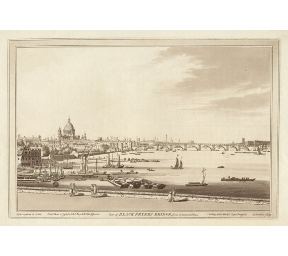 Blackfriars Bridge Thames Loondon Farrington aquatint Stadler