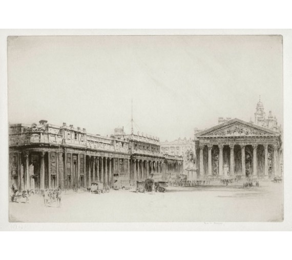The Royal Exchange London etching Frederick Farrell