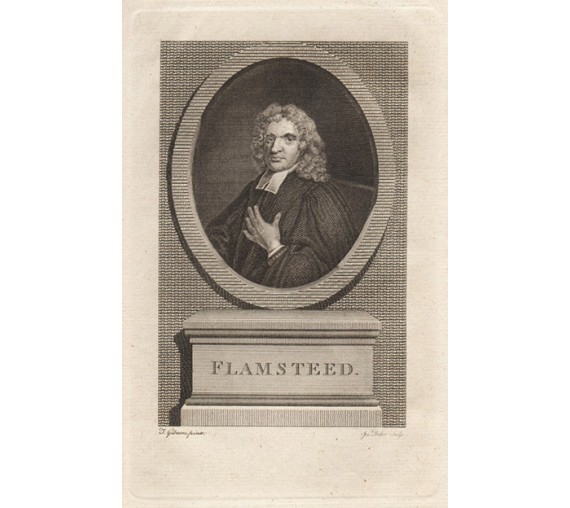 Flamsteed astronomer portrait engraving print