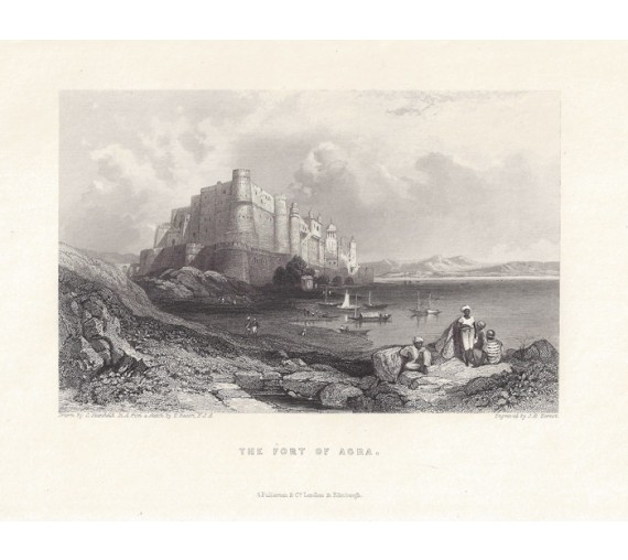 India Fort Agra Stanfield antique engraving