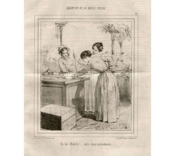 Girls billiards antique French print lithograph