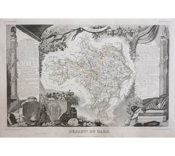 gard levasseur french department antique map