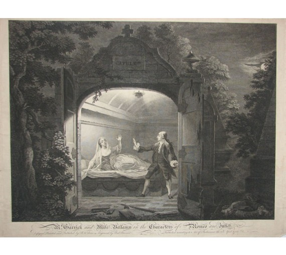 Garrick Bellamy Romeo Juliet portrait theatre Shakespeare engraving
