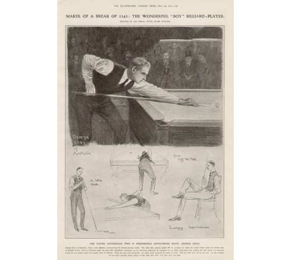 Billiards George Gray Australian antique sporting print