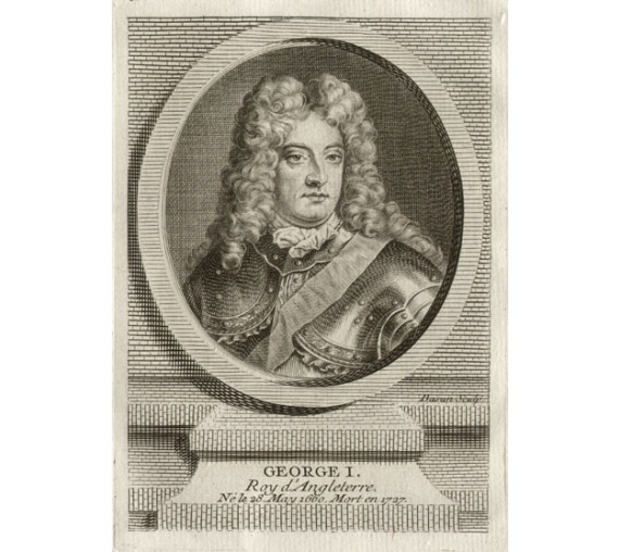 George I King England portrait engraving print