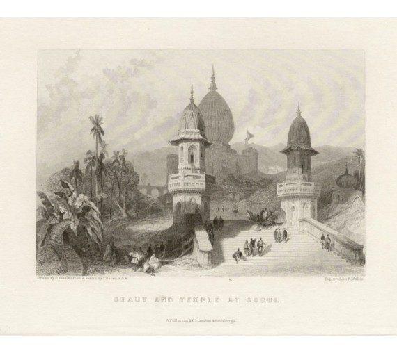 India Ghaut Temple Gokul Roberts  antique engraving