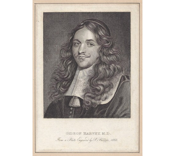 Gideon Harvey portrait engraving doctor physician Charles