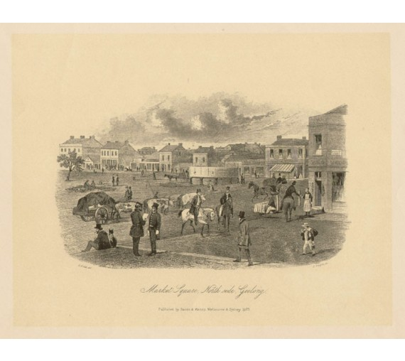 Market Square North side Geelong Lithograph ST Gill