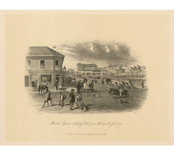 Market Square looking NE from Malop ST Geelong Lithograph Tingle ST Gill