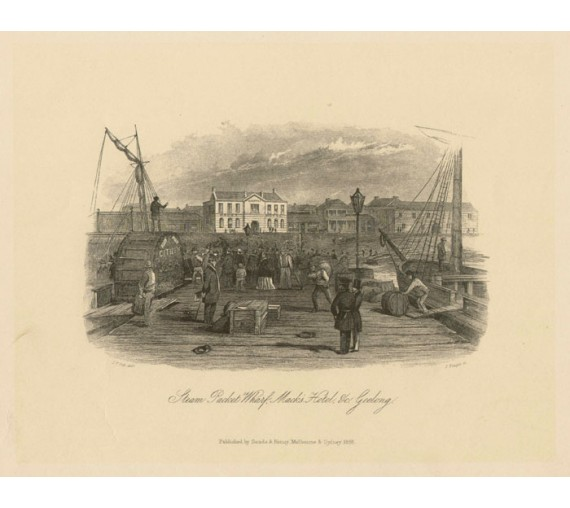 Steam Packet Wharf Geelong Lithograph Tingle ST Gill