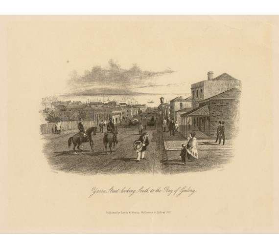 Yarra Street looking South Bay Geelong Lithograph Gill