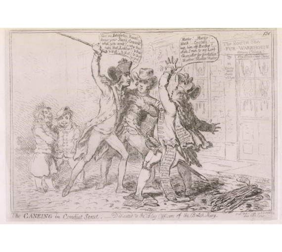 Caneing Conduit Street Etching James Gillray