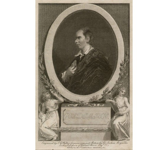 Oliver Goldsmith portrait engraving print Reynolds