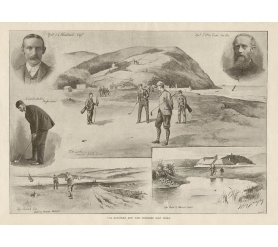 Minehead Somerset Golf Links antique photogravure 1899 print