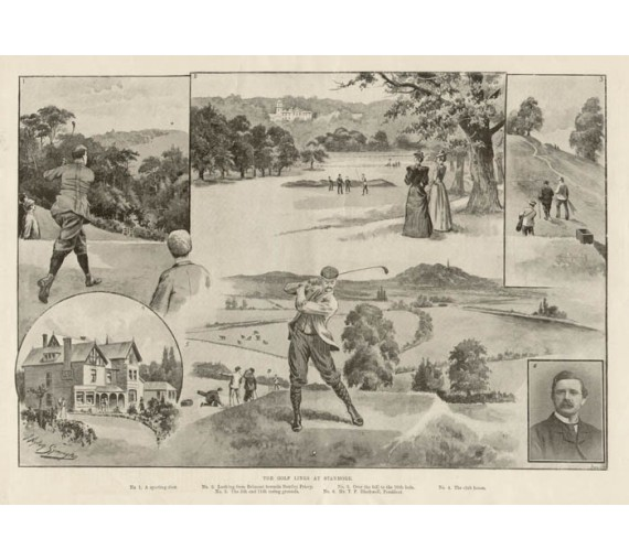Golf Links Stanmore antique photogravure print golfing