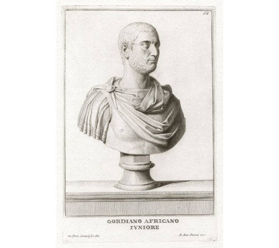 Roman bust Gordion engraving Campiglia sculpture
