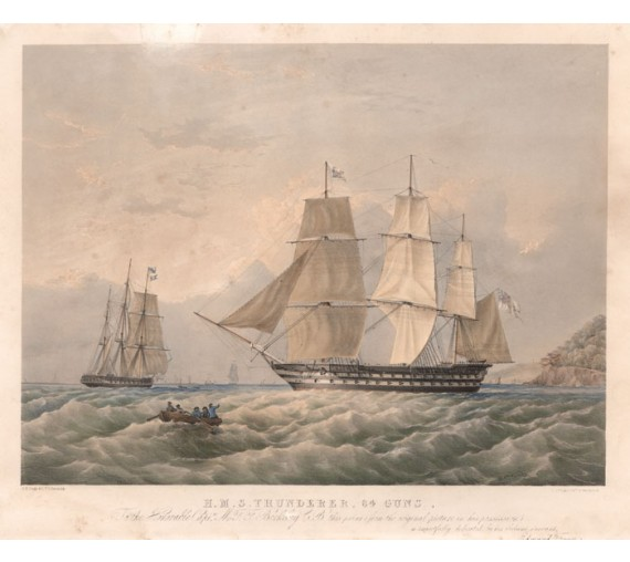 HMS Thunderer Dutton Condy ship lithograph