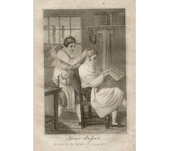 hair dresser tabart georgian fashion trade engraving barber