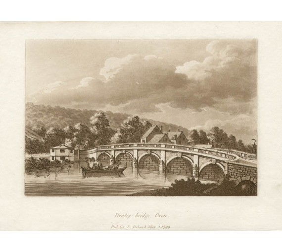 Henley bridge Oxon Thames Samuel Ireland aquatint