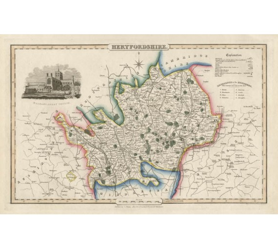 hertfordshire english county slater antique map