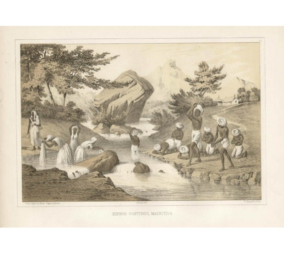 Hindoo Costumes Mauritius Perry expedition lithograph