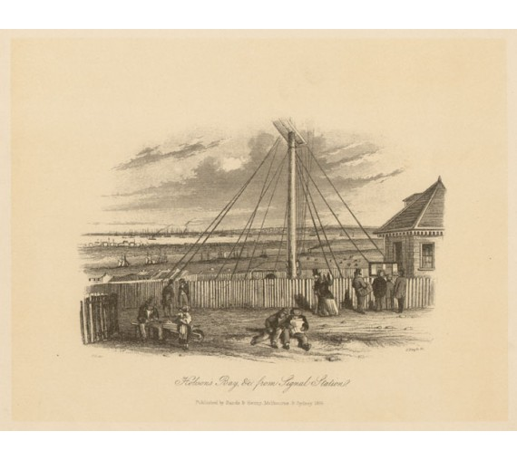 Hobsons Bay Signal Station Lithograph Tingle ST Gill