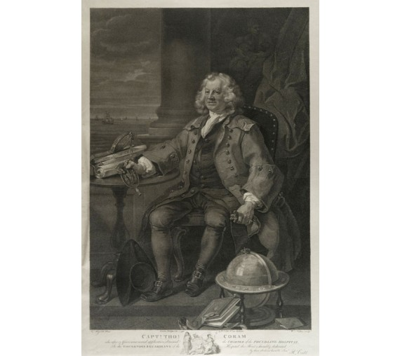 Captain Thomas Coram portrait engraving Hogarth foundling