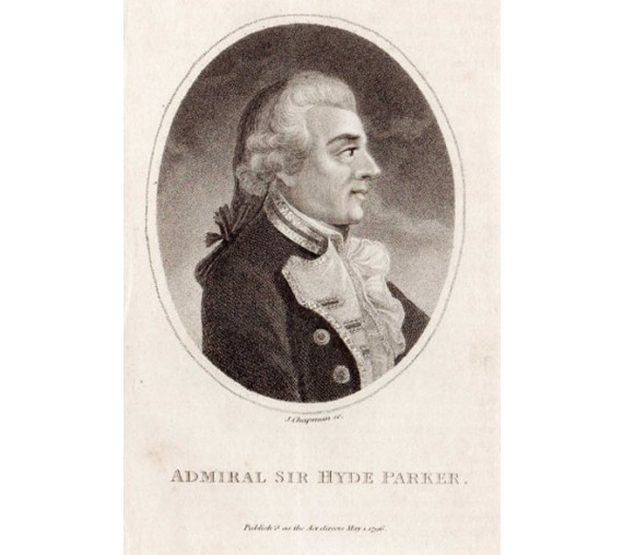 Admiral Sir Hyde Parker portrait engraving naval