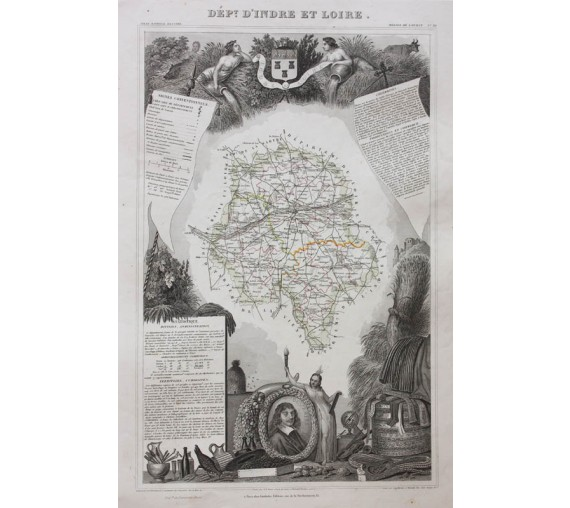 indre et loire levasseur french department antique map