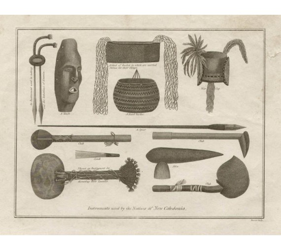 Instruments Natives New Caledonia engraving