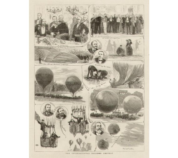 Ballooning International Balloon Contest antique print engraving