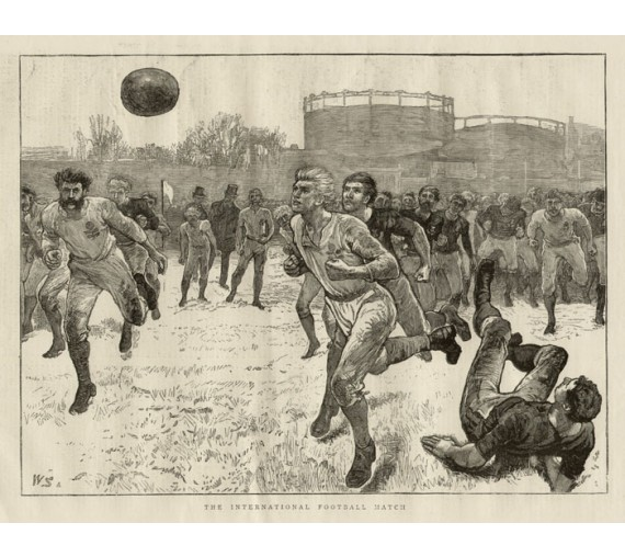 International Football Match antique soccer engraving print