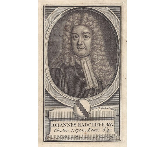 John Radcliffe portrait engraving Kneller physician Oxford