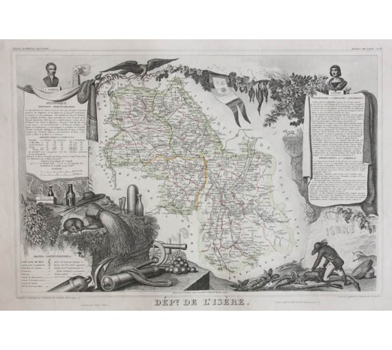 isere levasseur french department antique map