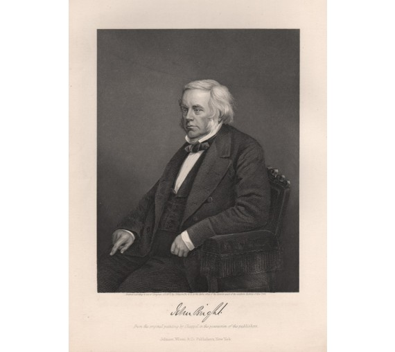 John Bright portrait engraving print
