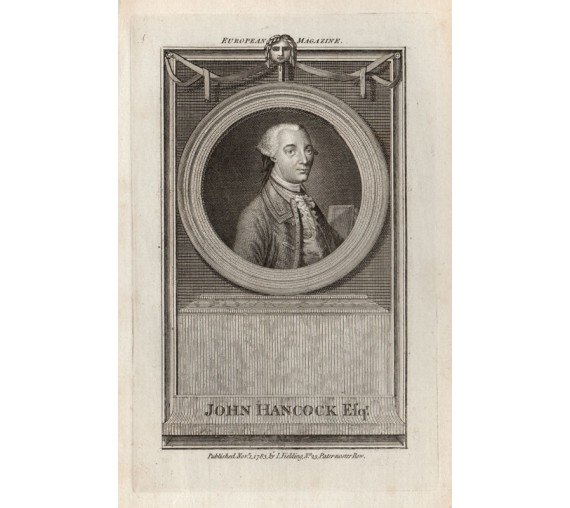 John Hancock portrait engraving Revolution United States