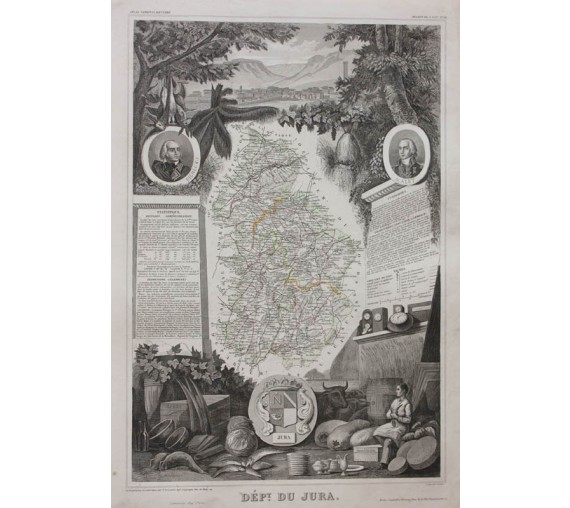 jura levasseur french department antique map