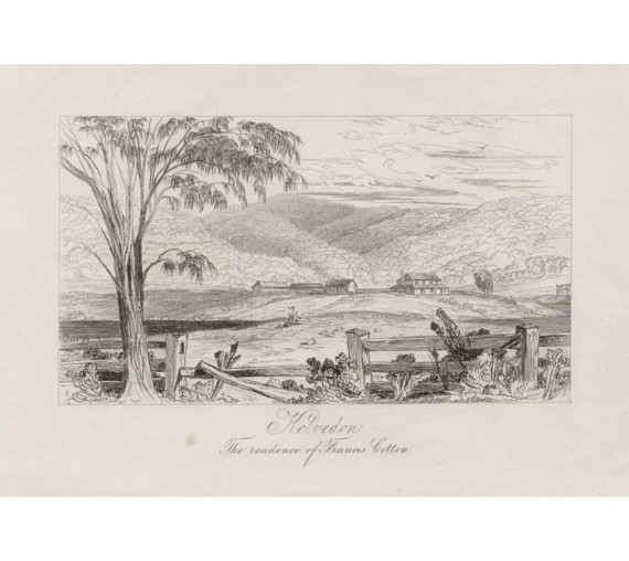 Kelvedon Residence Francis Cotton Etching 1843 Tasmania Backhouse