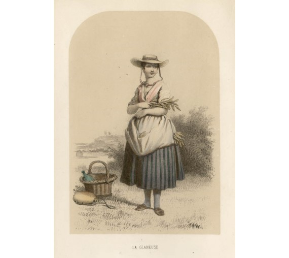 La Gleaneuse children French lithograph Lassalle gleaner