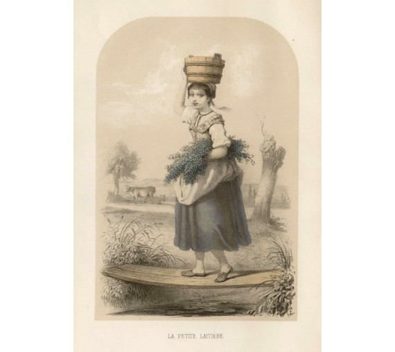 La Petite Latiere children French lithograph Lassalle milkmaid