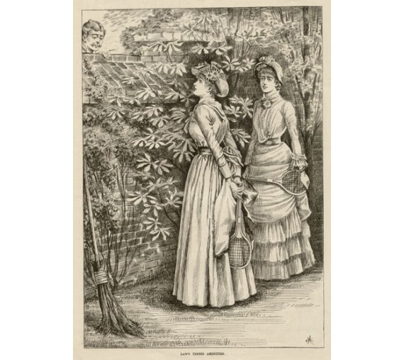 Lawn Tennis Amenities antique print engraving fashion racquet
