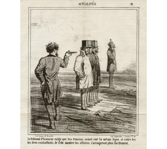 Le tribunal d_honneur French duelling lithograph by Cham 1867