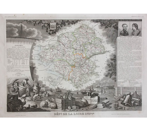 loire inferieure levasseur french department antique map
