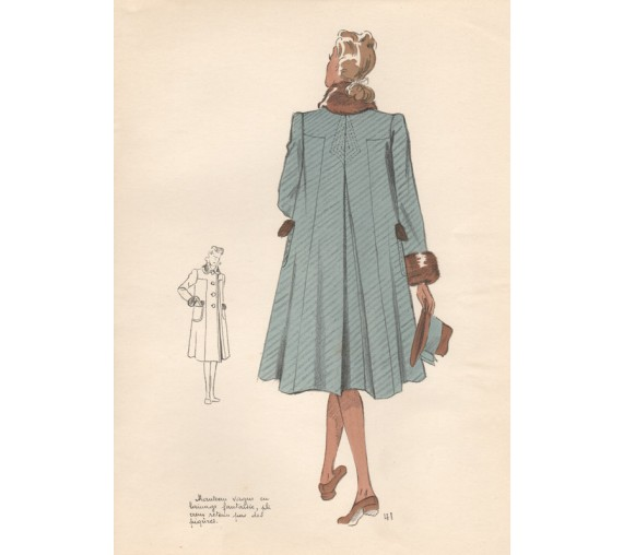 french winter fashions 1940s illustration paris design